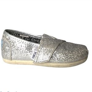 Toms Youth Girl Alpargata Silver Velcro Glitter Classic Slip On Canvas Shoes